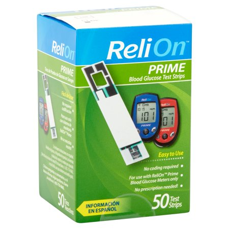 Relion Prime Blood Glucose Test Strips  50 Ct