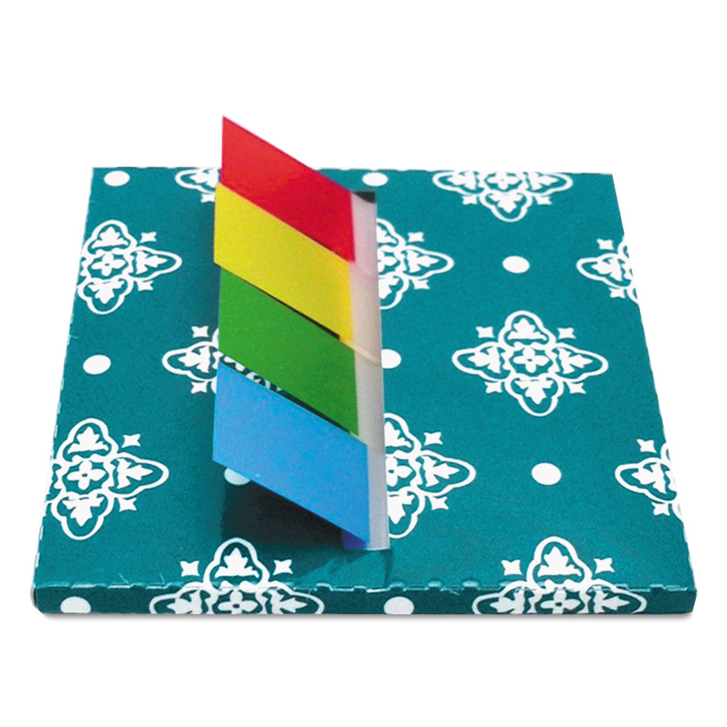 Teal Designer Pop-Up Flag Dispenser, 4 Pads of 35 Flags Each