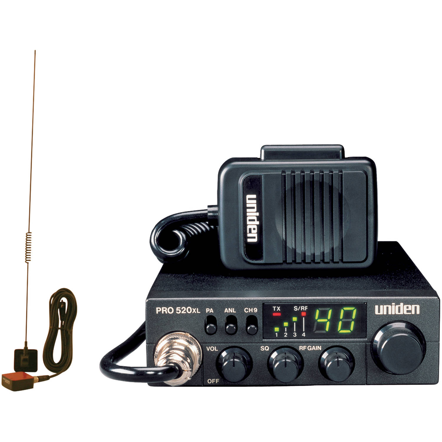 Uniden PRO520XL 40-Channel 4-Watt Compact CB Radio and Tram 1198 Glass Mount CB With Weather-band Mobile Antenna