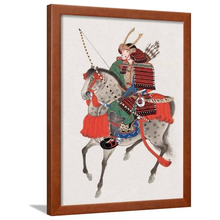 Watercolor Painting of Samurai on Horseback Framed Print Wall Art ...