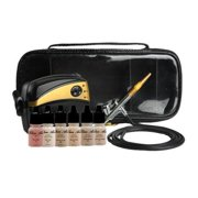 Glam Air Airbrush Makeup Machine System with 5 Dark Sattin Shades of Foundation and Airbrush Blush light