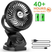 Battery Operated Clip on Stroller Fan - Mini Portable Desk Fan with Rechargeable 4400mA Battery Powered Fan with Easy-to-clip Design for Baby Stroller, Outdoor Activities (Max 40Hours)
