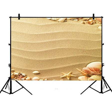 GCKG 7x5ft Love Beach Sand Sunlight Hearts Seashells Starfish Polyester Photography Backdrop Studio Photo Props Background