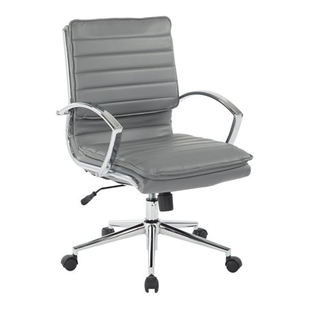 Leather Mid Back Chair - Mid Back Manager's Faux Leather Chair in Charcoal with Chrome Base
