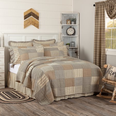 Charcoal Grey Farmhouse Bedding Miller Farm Charcoal Cotton Pre-Washed Patchwork Chambray Luxury King Quilt