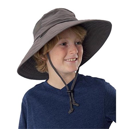 67747edf Sun Protection Zone - Sun Protection Zone Kids Unisex Lightweight  Adjustable Outdoor Booney Hat (100 SPF, UPF 50+) - Charcoal - Walmart.com