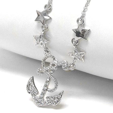 "Sailing Under the Stars - Anchor Necklace Adjustable from 16"" to 18"" Necklace"