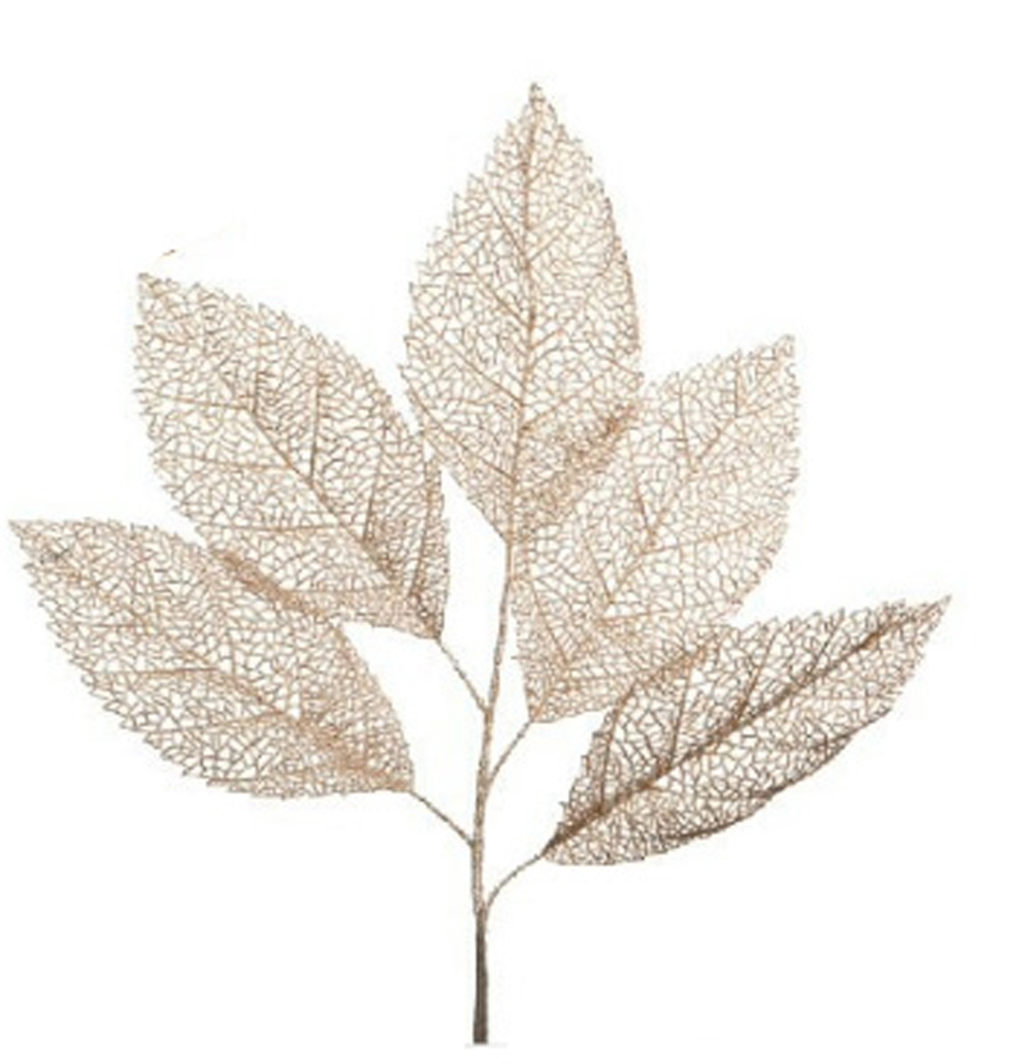 Frosty Silver Glitter Coated Stem & Leaf Branch (39 Inch)