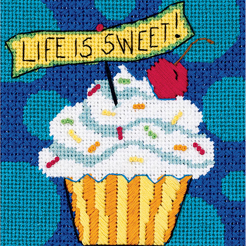 "Dimensions Life is Sweet Mini Needlepoint Kit, 5"" x 5"""