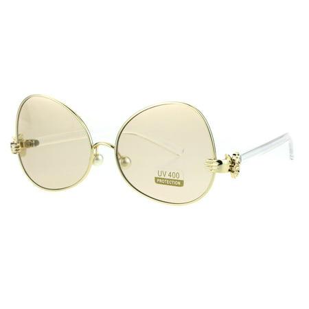 Pearl Nose Pad Clown Hand Hinge Drop Temple Swan Sunglasses Gold Light (Lv Sunglasses Women)