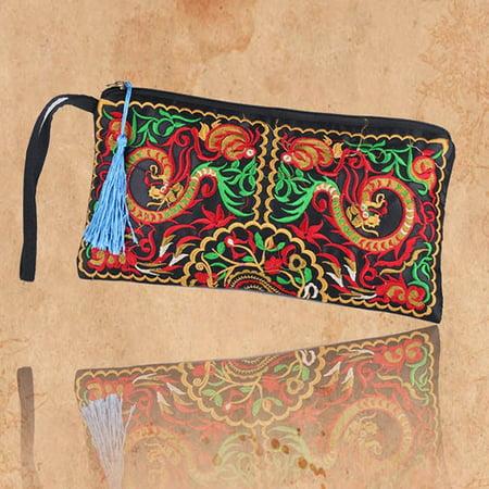 SUPERHOMUSE Women Retro Wristlet Clutch Bag, Boho Ethnic Embroidered Handmade Purse Wallet Storage Bags Ladies Three Part Clutch Wallet