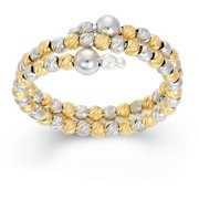 Rhodium and 14kt Gold-Plated Sterling Silver DC Bead Ring