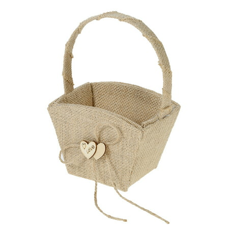 Vintage Rustic Wedding Burlap Flower Girl Basket with Wooden Heart Decoration Wedding Supplies](Wedding Baskets)