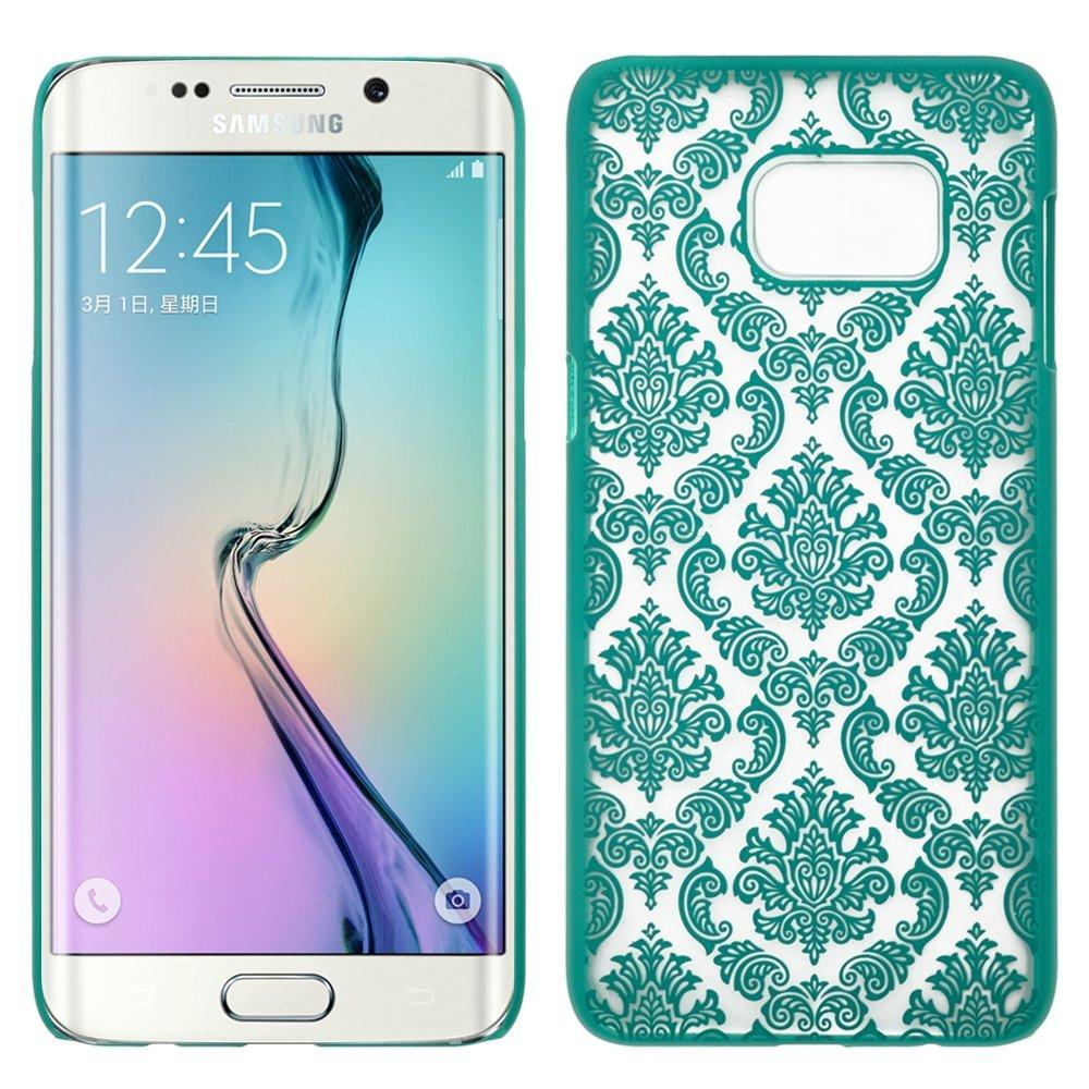 Ultra Slim Damask Vintage Case Cover compatile for Samsung Galaxy S6 Edge Plus Case - Teal