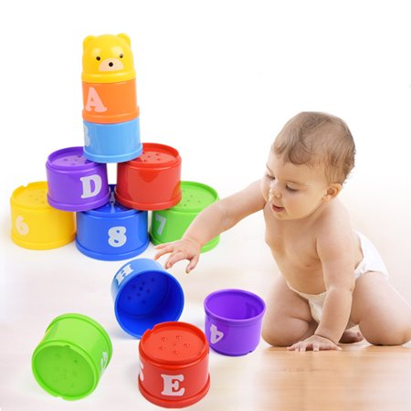 Nesting Sort Stack - Jeobest Rainbow Stacking Cups - Rainbow Stacking and Nesting Cups - Educational Rainbow Stacking & Nesting Cups Baby Building Set for Baby Toddler Kid Stacking Fun Cups (Random Color) MZ
