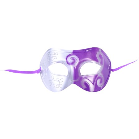Halloween Party Half Face Mask Engraving Masquerade Party Mask Party Favors Dress Up Costume Creative Gift for Men (Purple)