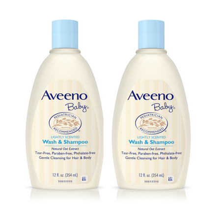 (2 Pack) Aveeno Baby Gentle Wash & Shampoo with Natural Oat Extract, 12 fl.