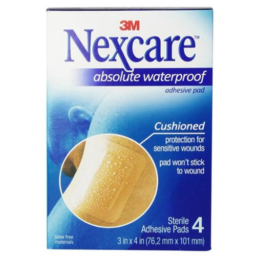 Nexcare  Absolute Waterproof Adhesive Gauze Pad 3 Inches x 4 Inches, 4 ea (Pack of 2)