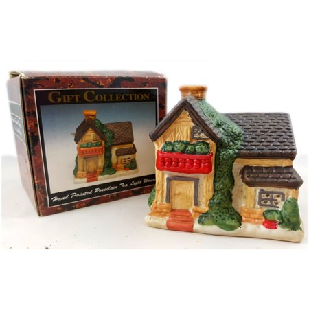 "Gift Collection Hand Painted ""Country Cottage"" Porcelain Tea Light"