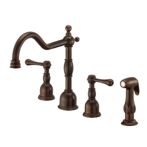 Danze Opulence Double Handle Deck Mount Kitchen Faucet with Spray