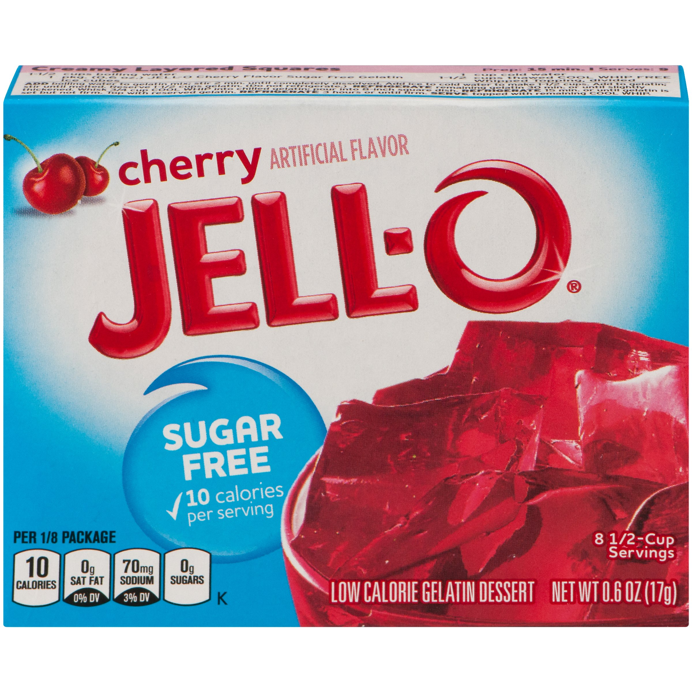 Jell-O Sugar Free Cherry Low Calorie Gelatin Dessert Mix 0.6 oz. Box