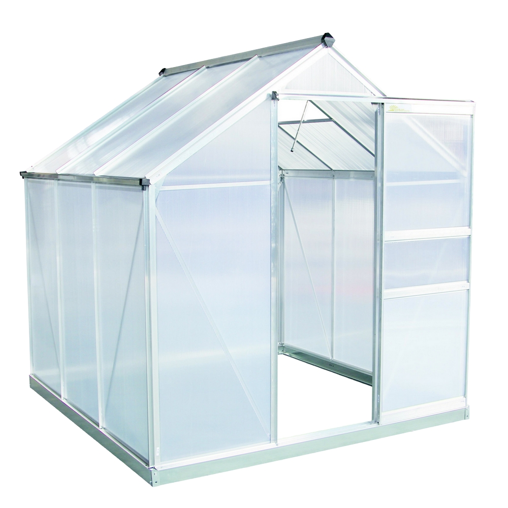 Palm Springs 6ft x 6ft Aluminum Walk in Greenhouse with polycarbonate panels by