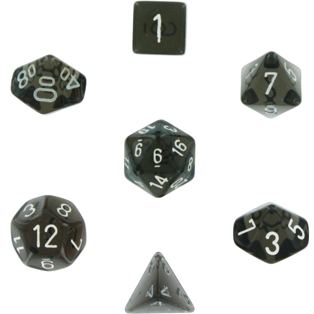 Chessex Polyhedral 7-Die Translucent Dice Set - Smoke with White #23008