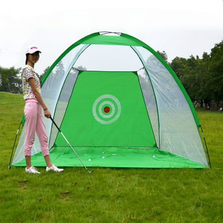 2M Foldable Golf Training Net Golf Practice Hit Net Training Cage Practice Driving Chipping Hitting Net System Aid Training Cage Driver Irons With Carrying Bag Outdoor