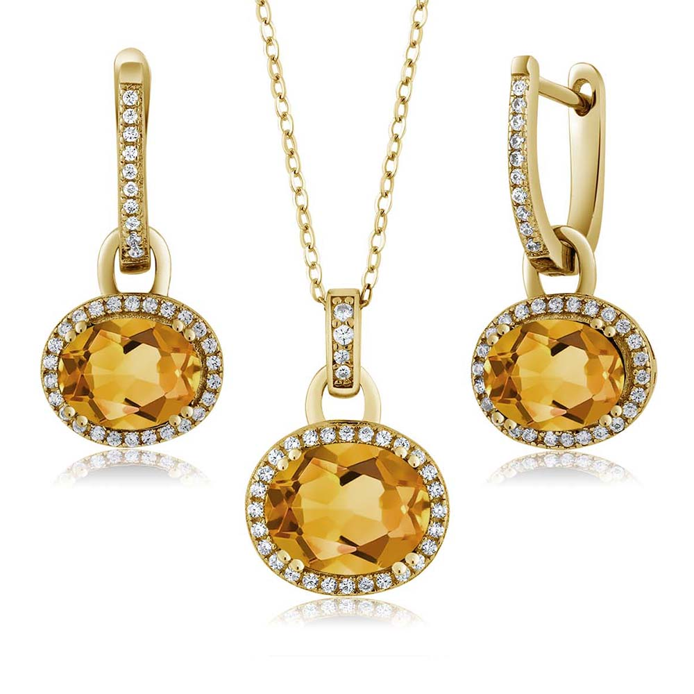 6.24 Ct Oval Yellow Citrine 18K Yellow Gold Plated Silver Pendant Earrings Set by
