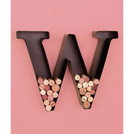 Monogram Wine Cork Holder Metal Wall Art Display Letter W Home Decor Accent ()