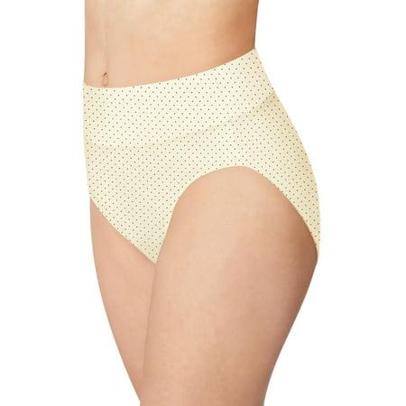 - Bali Womens Passion for Comfort Hi-Cut Panty, 9, Whisper White Micro Dot