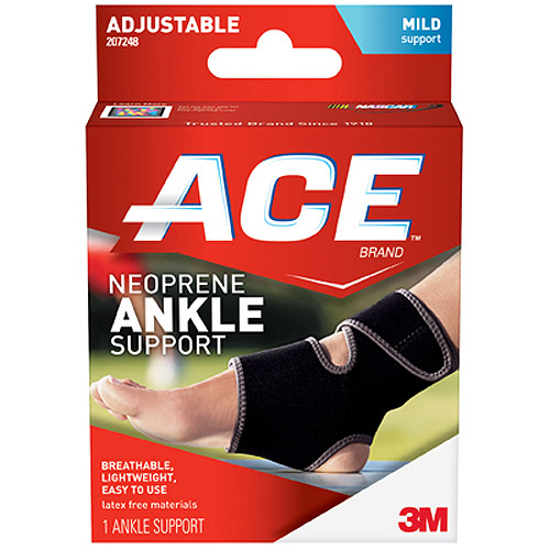 ACE Neoprene Ankle Support, One Size Adjustable, 207248