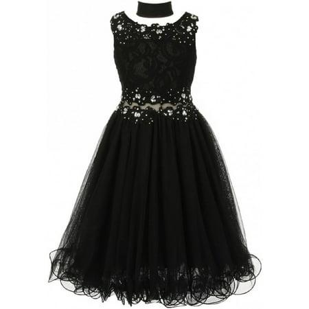 Embroidered Design Rhinestone Princess Little Flower Girls Dresses Black 4 Size