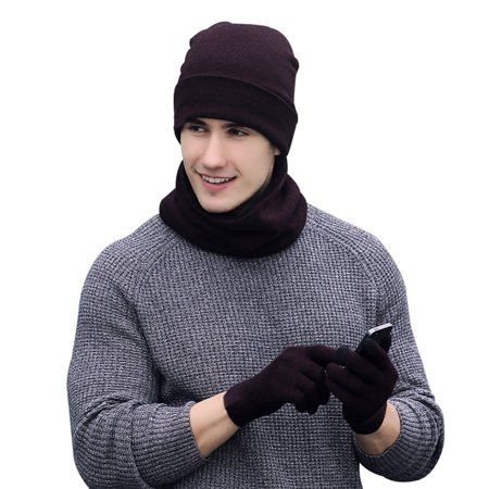 d0fac091d11 Vbiger Winter Warm Knitted Set Knitted Hat Scarf Touch Screen Gloves for  Men and Women