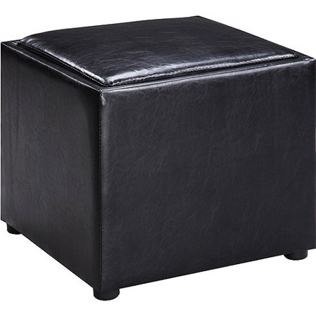 Faux Leather Square Storage Ottoman With Wood Tray Black