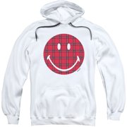 Smiley Men's  Plaid Face Hooded Sweatshirt White