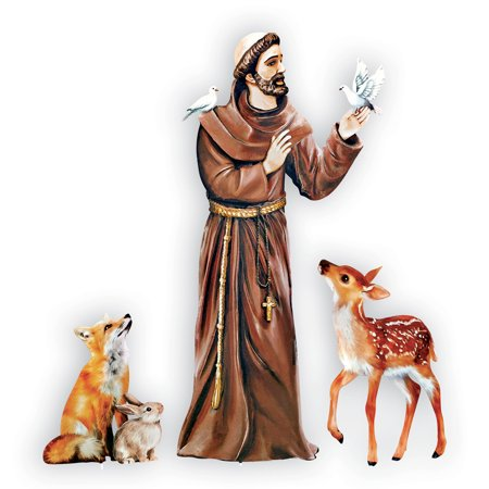 St. Francis of Assisi with Animals Religious Lawn Ornament Garden Stake Set Decoration