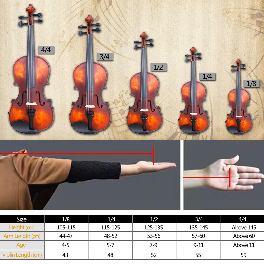 Zimtown Glarry 3/4 Solid Wood Violin with Box, Bow, Rosin, Shoulder Rests, Electronic Tuner and Extra Strings, Dark Goldenrod - image 3 de 6