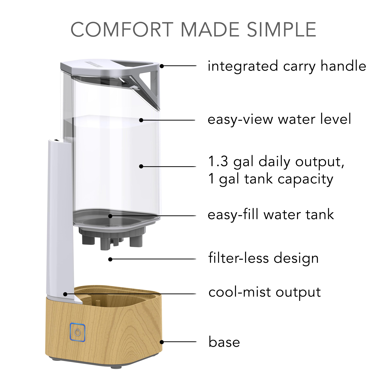 Sharper Image Uhs1 Ultrasonic Cool Mist Humidifier 1 Gallon Tank Light Ash Woodgrain Walmart Com Walmart Com
