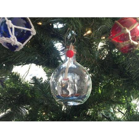 Mayflower Model Ship in a Glass Bottle Christmas Ornament 4