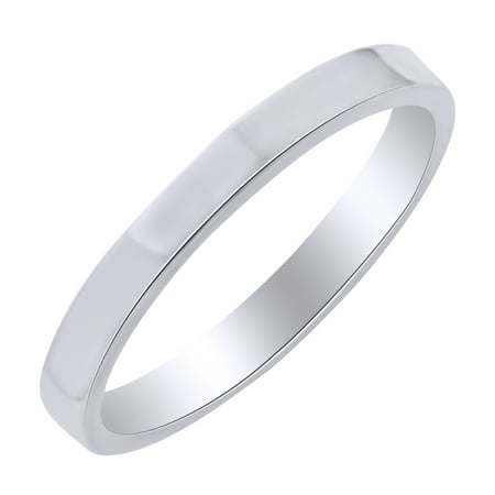 3mm Standard Flat Comfort Fit Band Ring in 10k White Gold Ring Size - 12