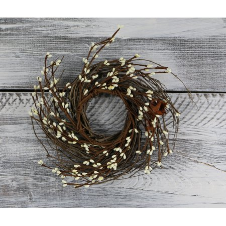 "Pip Berry, Twig, & Star Wreath, 12"" - Ivory"