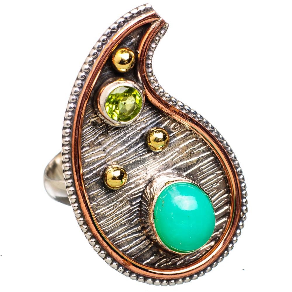 Ana Silver Co Large Chrysoprase, Peridot 925 Sterling Silver Ring Size 8.25 RING821780 by Ana Silver Co.