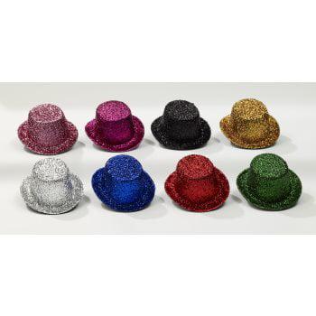 MINI GLITTER TOP HAT-BLACK (Mini Black Top Hats)