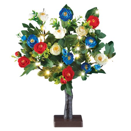 LED Lighted Red White Blue Rose Tree Table Centerpiece Decoration for Memorial Day, July 4th - Light Up Table Centerpieces