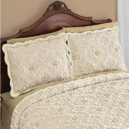 Faux Fur Medallion Pillow Sham with Scalloped Edges-Sham-Cream/Taupe ()