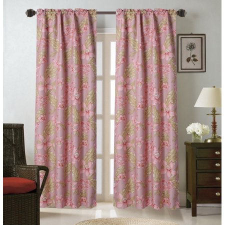 WARDA-9 Garden Rose 1pc Foam Backing Insulated Printed Window Dressing Curtain, Lined Rod Pocket Panel 37