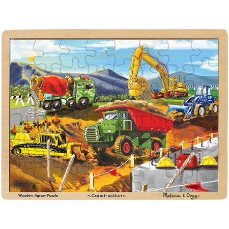 Melissa & Doug Construction Vehicles Wooden Jigsaw Puzzle With Storage Tray (48 pcs) for $<!---->