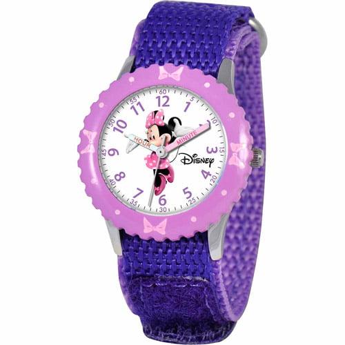 Disney Minnie Mouse Girls' Stainless Steel Watch, Purple Strap