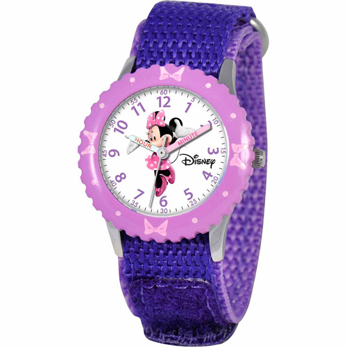 Disney Minnie Mouse Girls' Stainless Steel Watch, Purple Strap